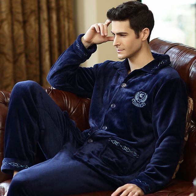 2016 Outono Inverno Grosso Terno dos homens com Espessura de Flanela Flanela Pijamas Casa Para Tomar Tamanhos Maiores Homens de Pijama de Inverno lã