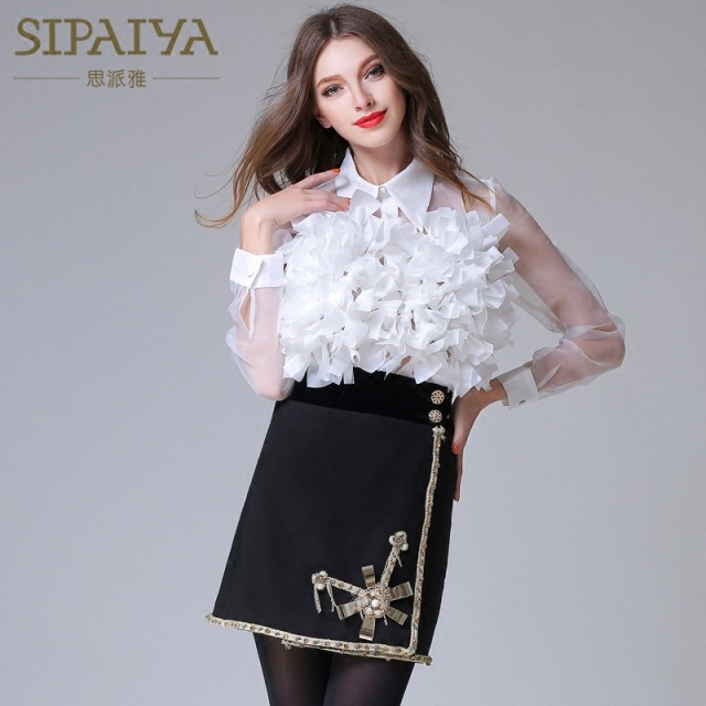 SIPAIYA Fashion Top 2017 Women White Sexy See Through Blouse Turn-down Collar Organza Blouses Long Sleeve Women Work Shirts