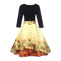 Fenghua Ukraine Winter Autumn Dress Women 2017 Vintage Thicker Warm A Line Dress Elegant Floral Print