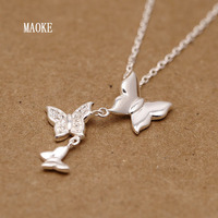 925 Sterling Silver Japanese and Korean Sweet Butterfly Silver Necklace for Women's Fashion Gifts