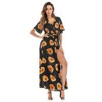 Free shipping Chiffon dress plus size casual beach Flower dress ladies V collar printing casual dress formal dress women elegant