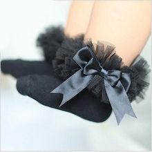 Милые хлопковые носки принцессы с кружевными оборками и бантом для маленьких девочек 0-6 лет
