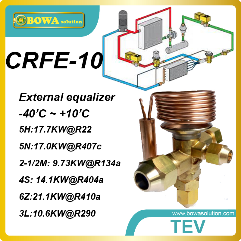 CRFE-10 (R134a, 9.73KW) thermal expansion valves suitable for copland ZR72 or Danfoss MT/MTZ050 or MT056 compressors nrf 6 thermal expansion valve tev or txv is preferred over other refrigeration metering devices and replace danfoss tg valves