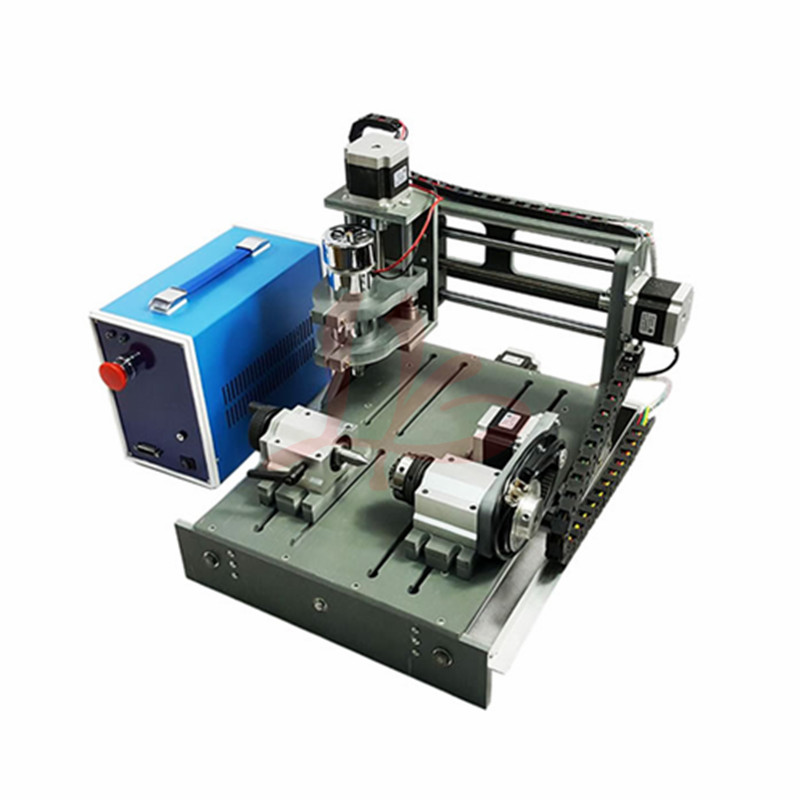CNC Router 3020 4 Axis PCB Milling Machine Wood Carving 300w Spindle LPT Usb Port With Free Cutter Clamp Drilling Collet