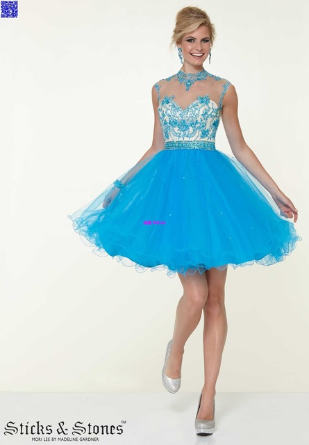 e9d259587 Nitree Cielo Azul Corto Atractivo Vestidos de Noche de Baile Vestido de  Partido de La Celebridad