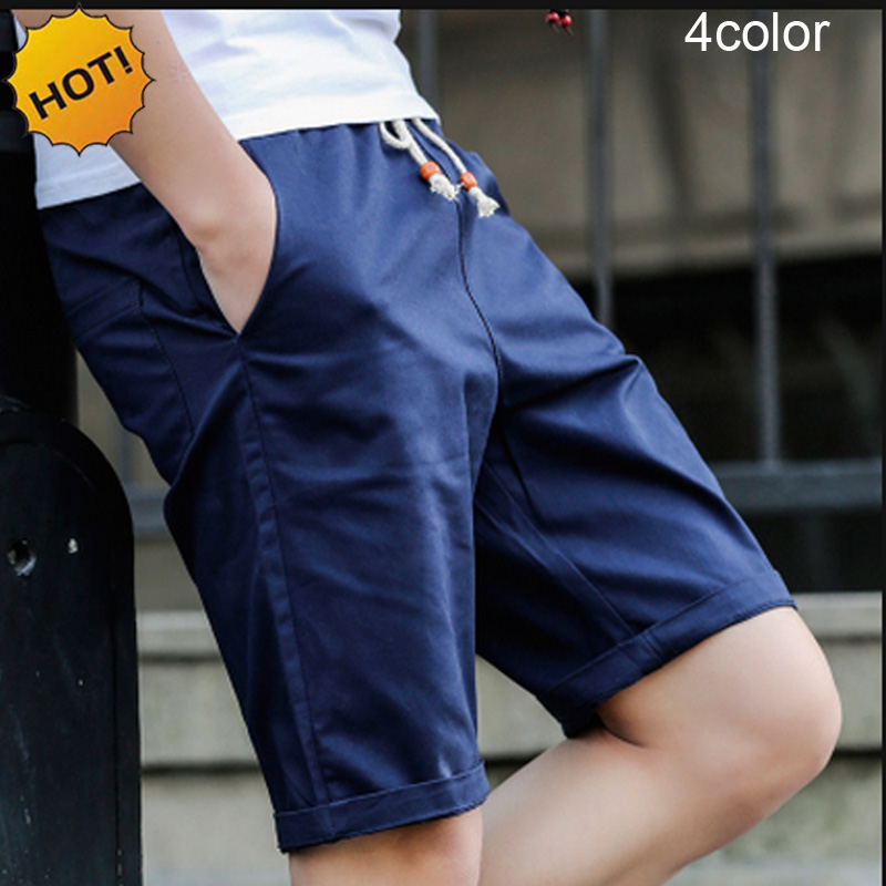 Summer 2017 Casual Straight Regular 100%Cotton Khaki Black Red Elastic Waist Drawstring Beach City Street Wear   Board     Shorts   Men