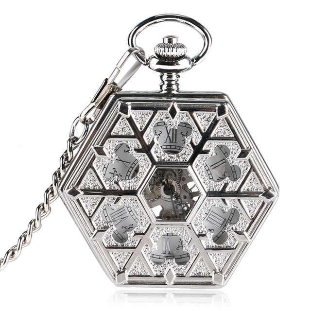 Fashion Silver Hoolow Mickey Mouse Hexagon Hand-wind Mechanical Pocket Watches w