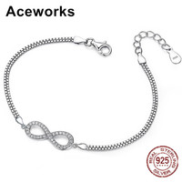 Pure Silver Bracelets Infinity Symbol Bracelet Zircons 2015 Fashion For Wedding Or Party Free Shipping