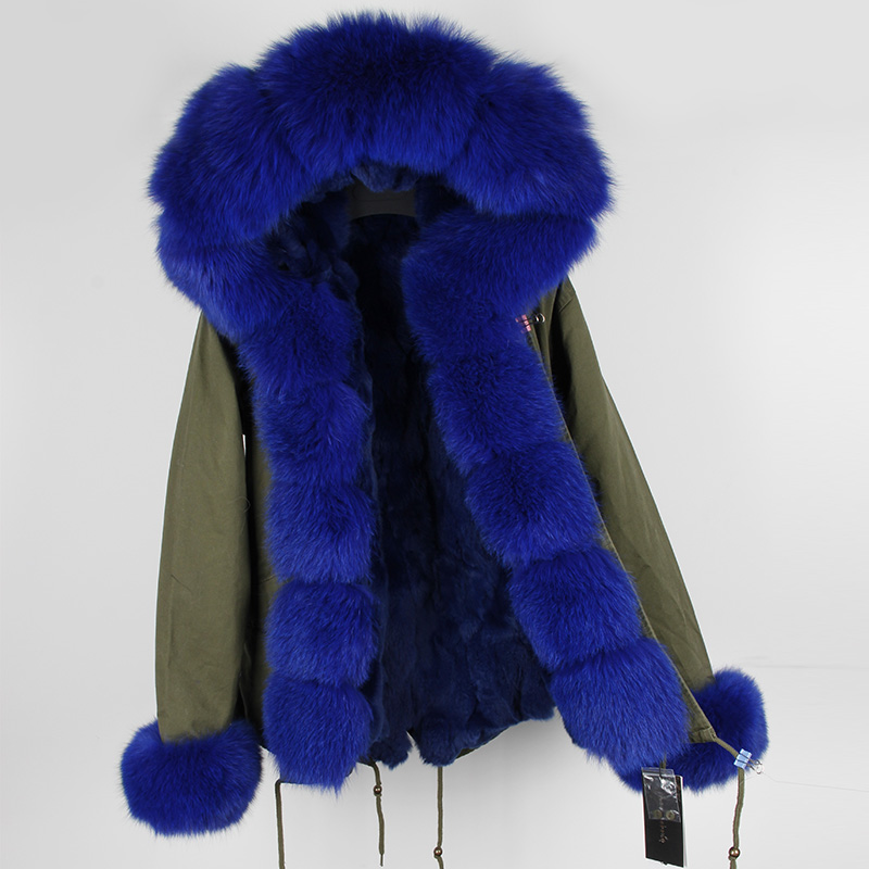 Female Thick Middle Long Real Rabbit Fur Lining Fox Fur Cuff Winter Parkas Jackets 2017 Women Big Raccoon Hooded Coats Outwear 2017 winter new clothes to overcome the coat of women in the long reed rabbit hair fur fur coat fox raccoon fur collar