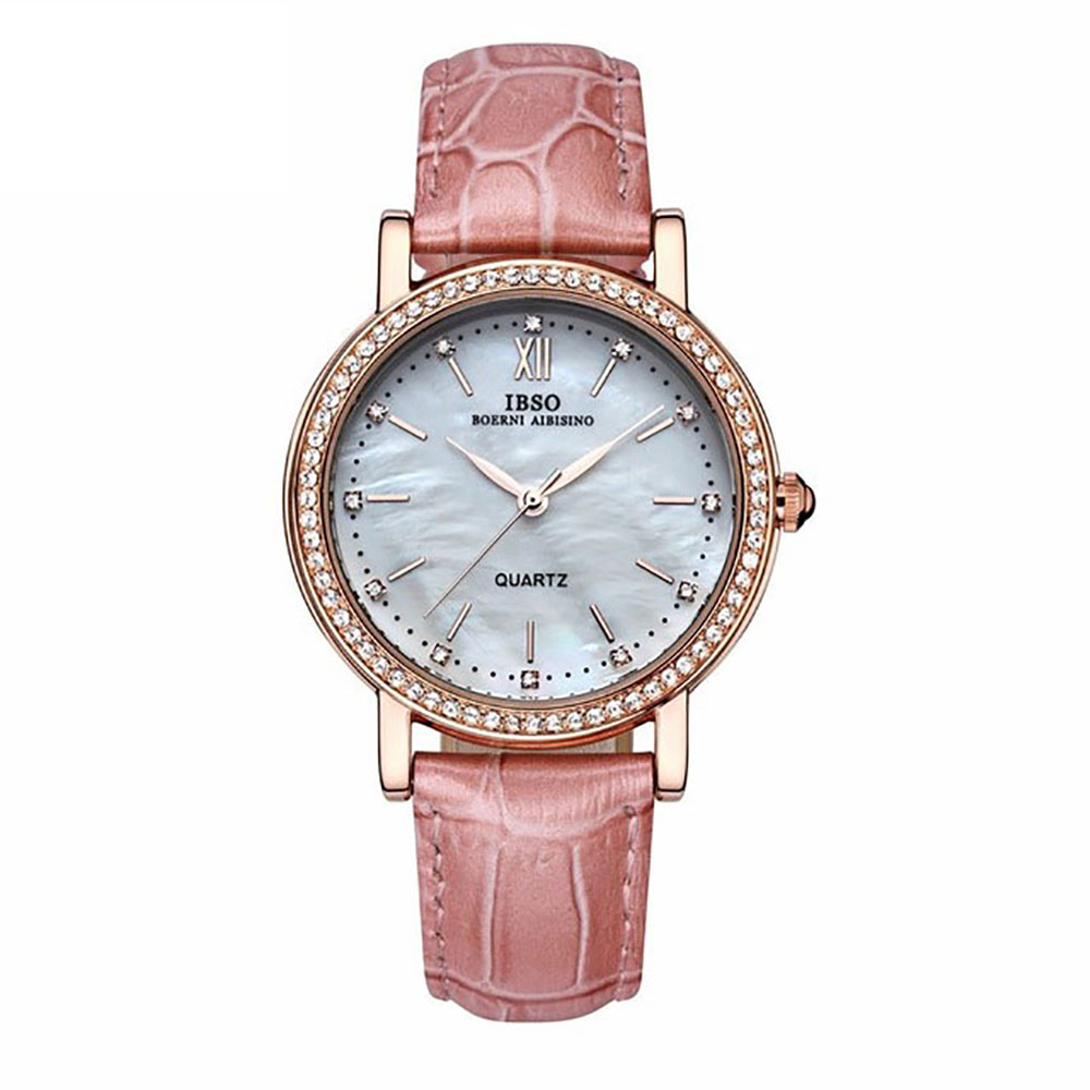 IBSO 2019 New Fashion Brand Watches For Woman Luxury Crystal Diamond Shell Watches For Lovers Genuine Leather Strap 3992