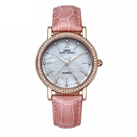 Marca de Moda Relógios para Mulher Relógios para Amantes Ibso Nova Luxo Cristal Diamante Escudo Pulseira Couro Genuíno 3992 2020