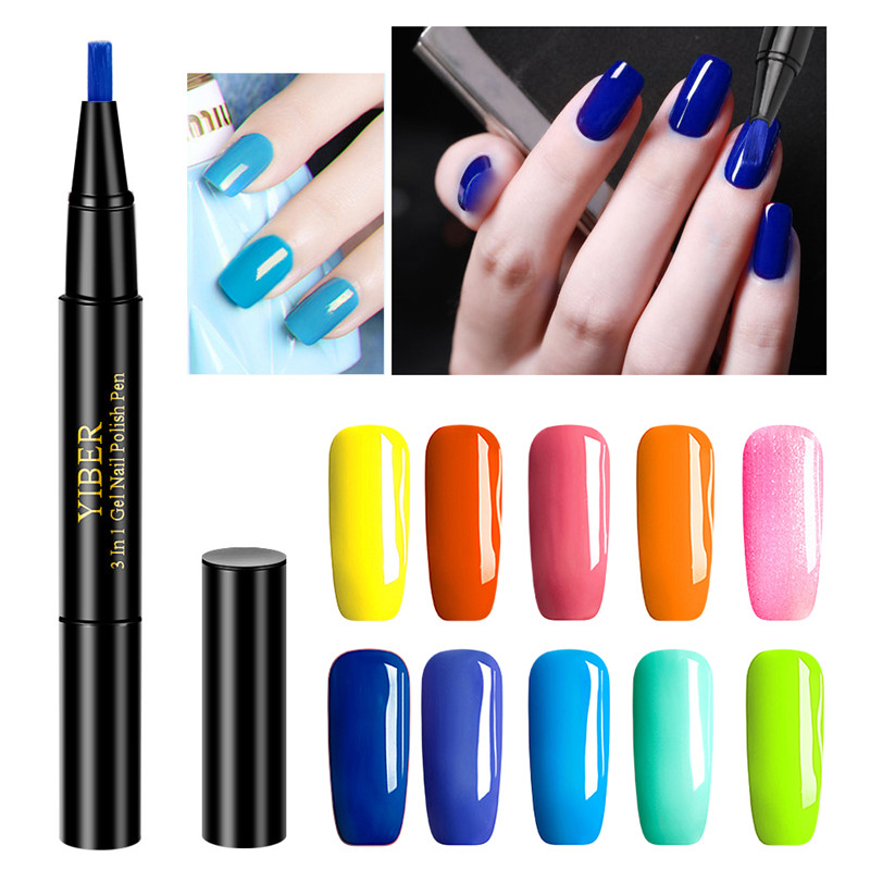 2019 New Convenient Nail Gel Paint One Step Gel Nail Pen Without Top Primer 3 In 1 UV Gel Paint Glitter Nail Polish Professional
