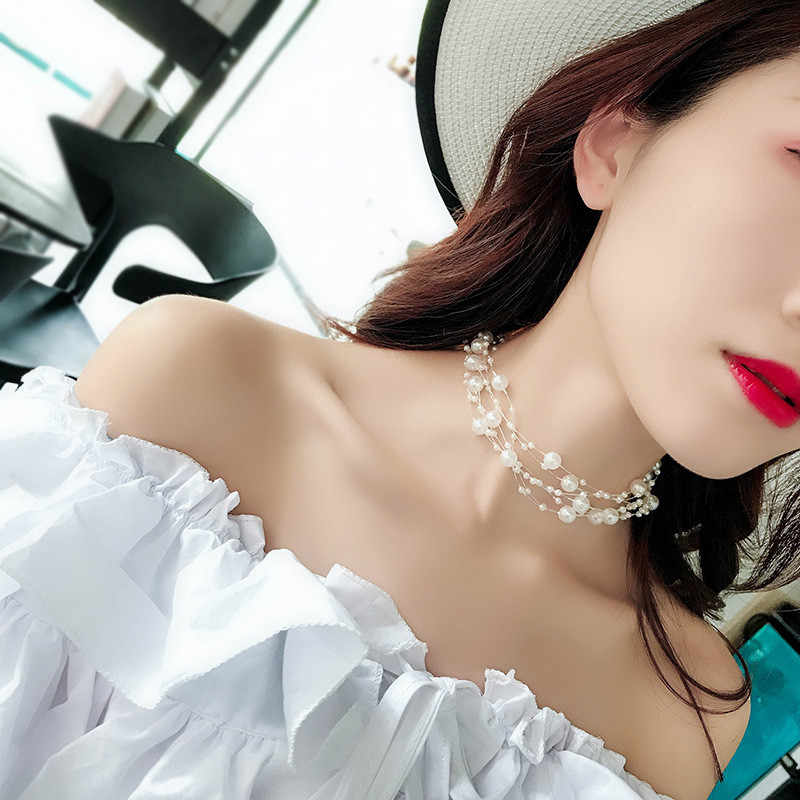 Ahmed Fashion Jewelry Multilayer Statement Pearl Choker Necklaces for Women New Charm Chocker Beads Clavicular Chain