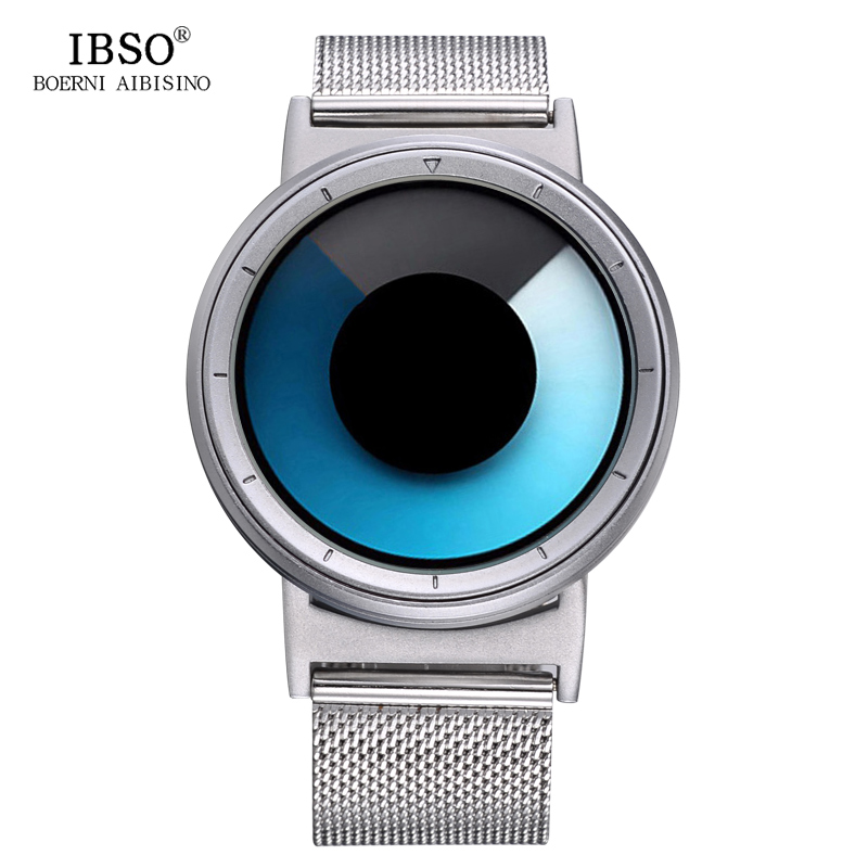 IBSO Brand Quartz Sport Watch Men Stainless Steel Mesh Strap Creative Color Change Fashion Mens Watches 2018 Relogio Masculino bgg brand creative two turntables dial women men watch stainless mesh boy girl casual quartz watch students watch relogio