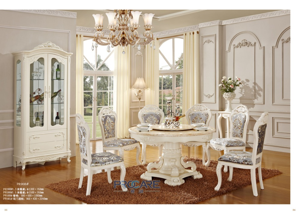 Hot Sale Luxury Solid Wood Dining Table And Chairs Furniture Sets With Wine Cabinet 908