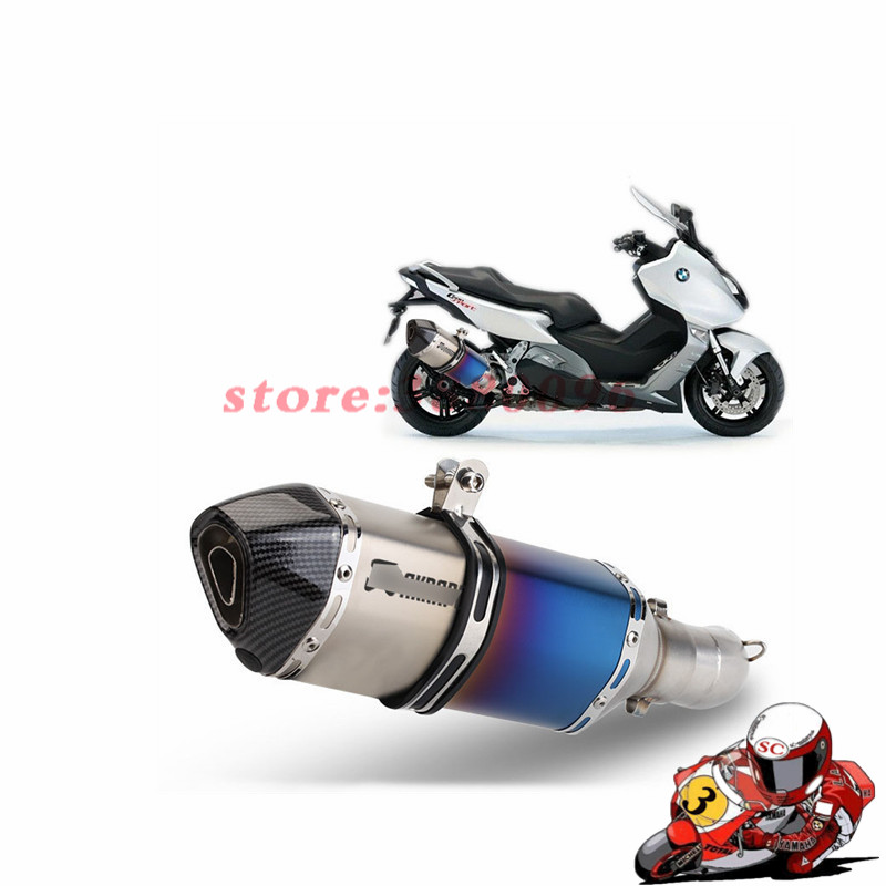 Slip On For BMW C650GT C600 C650  2011-2015 51mm Exhaust Pipe Motorcycle Mid Pipe Rear Escape With Removable DB Killer Muffler