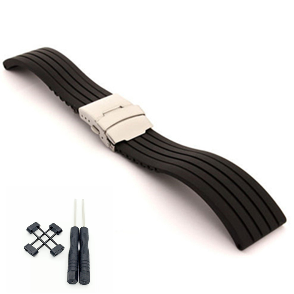 24mm For Suunto Core For Note Rubber / Silica gel Generic Watch Strap / Band +Adapters +Tools