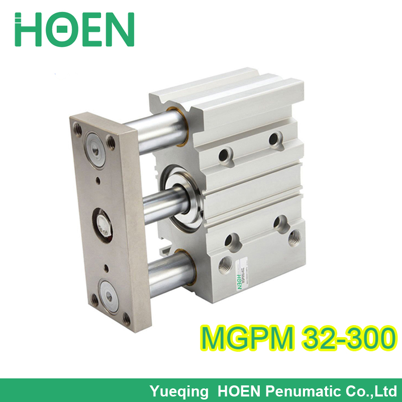 MGPM32-300 Double Action Slide Bearing MGP Guide Cylinder Bore 32mm Stroke 300mm three rod cylinders pneumatic mgpm32 30 32mm bore 30mm stroke series three shaft double acting air cylinder with rubber bumper mgpm32 30