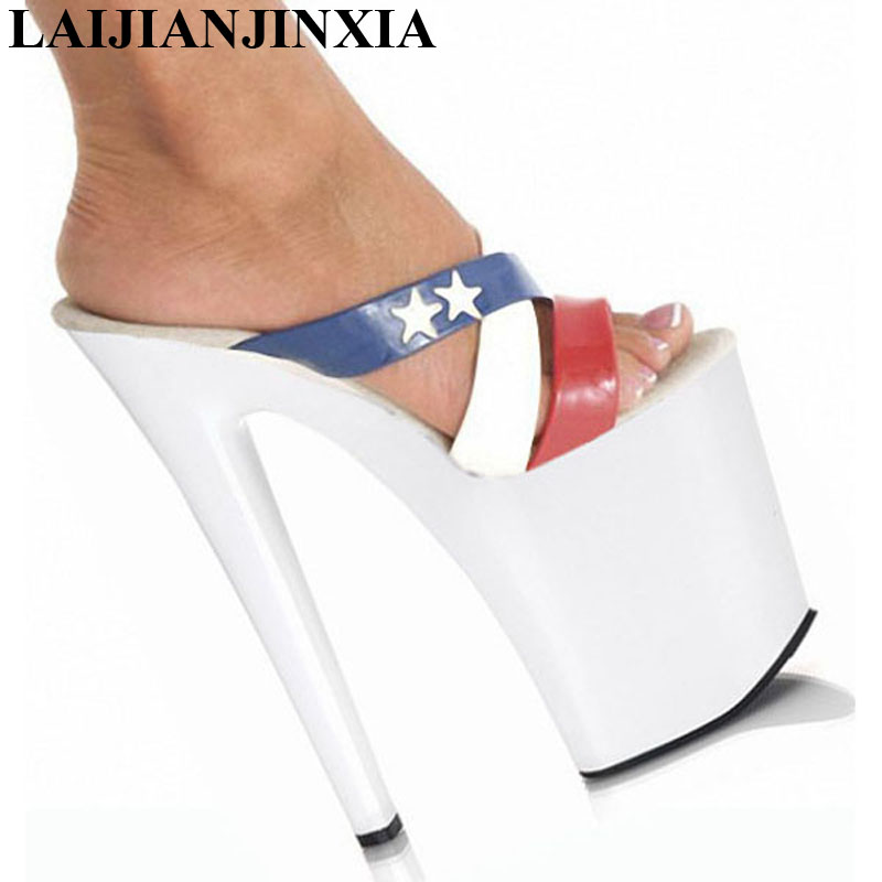 LAIJIANJINXIA New 8 Inch High Heel Sandals Fashion Women Dress Sexy Crystal Shoes Dancer Party Ladies Sphere Slippers hot sale 6 inch high heel sandals new fashion women dress sexy shoes 17cm crystal shoes exotic dancer slippers