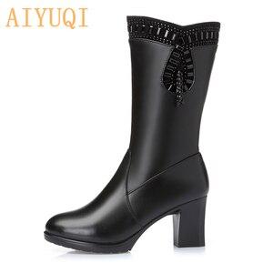 Image 5 - AIYUQI 2020 ladies boots for winter genuine leather women boots warm wool rhinestone fashion high heel tassel boots women