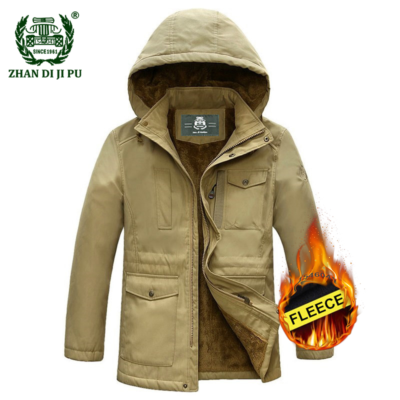 1b60a3360538 2018 Winter thicken warm men s casual brand hooded army green jackets man  military afs jeep khaki fleece thick black jacket coat