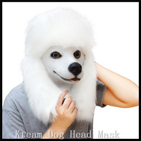 Halloween Party Poodles Mask Elegant Longhaired White Pet Dog Masks Dog Head Retaining Cap High Grade Latex Animal Party Masks