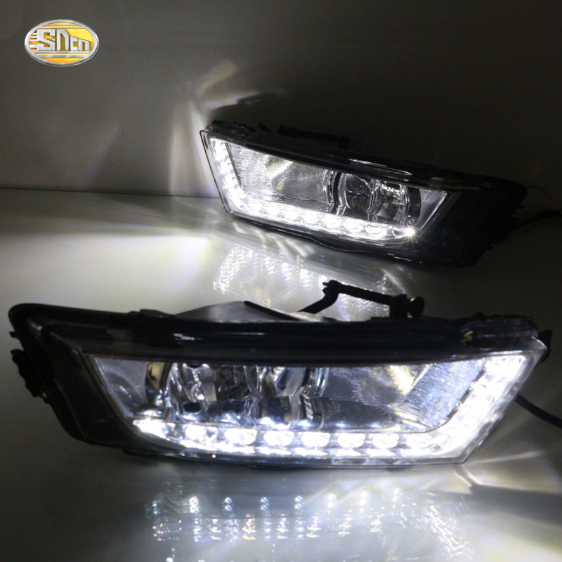 ФОТО LED Daytime running light for Skoda Octavia A7 2014 2015 Fog lamp shell DRL with yellow turning light