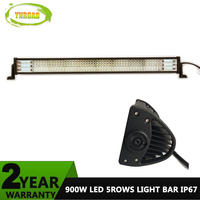 YNROAD 900w 42inch Tri Row+5rows Led Light Bar work light Driving Offroad Light combo for fishing truck boat 4WD SUV ATV