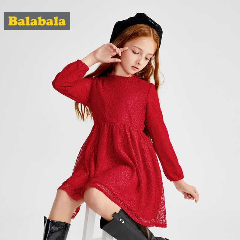 074ddd8c9 Balabala Girls Flared Long-sleeved Lace Dress 100% Cotton Lined with  Ruffled Collar Teenage