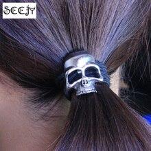 SCCJY Halloween Retro Punk Gothic Metal Skull Hair Tie Fashion Birds Crow Skull Elastic Hair Bands Accessories