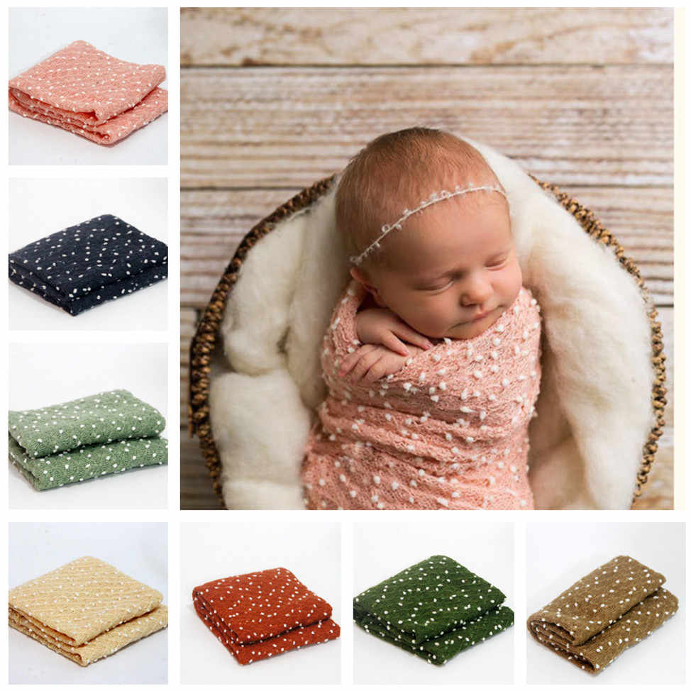 free shipping10 Color  Phop Newborn Baby Photography Prop 50*160cm Backdrops Wrap+Handband Hand Crochet Knitted Infant Cotton