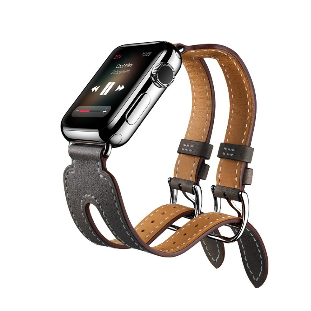 CRESTED Genuine Leather Double Buckle Cuff Watch Band For Apple Watch 38/42mm strap Leather watch bracelet for iwatch 1/2/3 genuine leather classic buckle watch straps wrist band for apple watch 42mm red