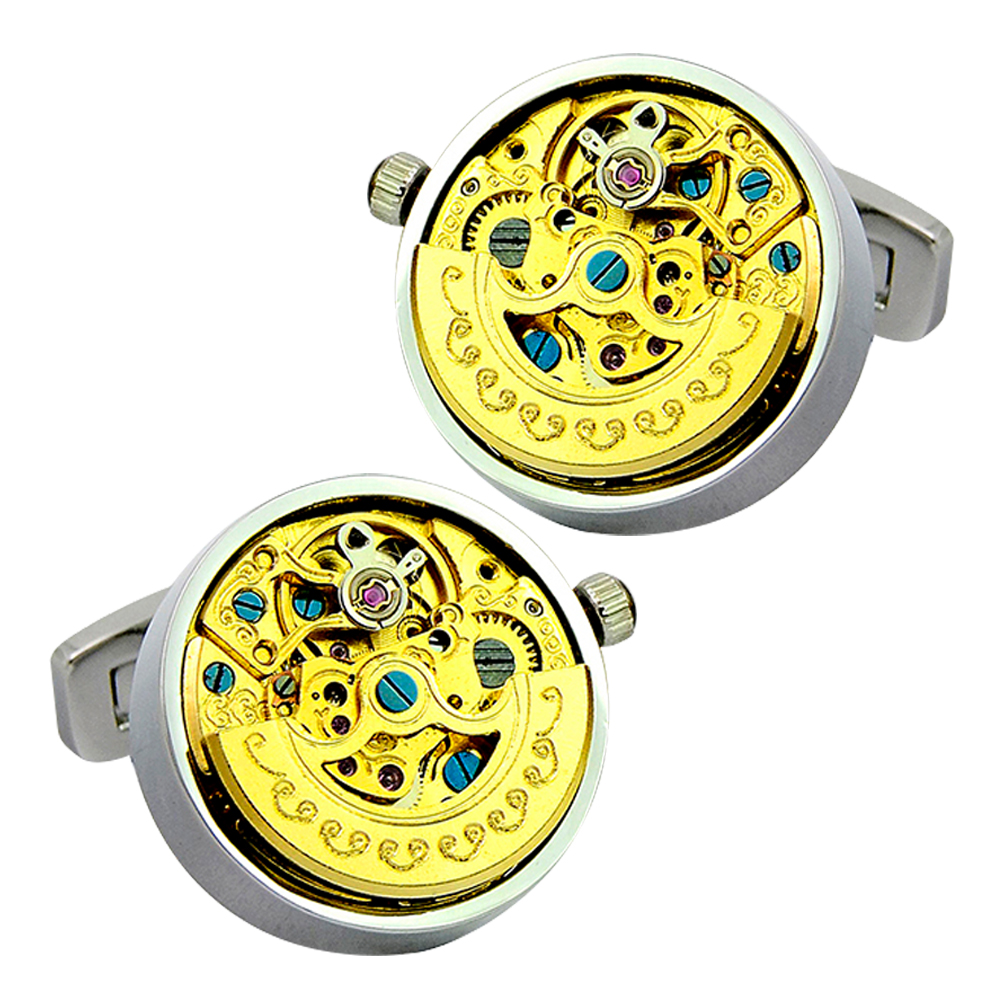 vintage cufflinks for mens mechanical skeleton movement watch gear luxury brand cuff links high quality wedding father day gift