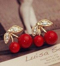 Корейская мода Личность гипоаллергенный имитация Cherry красный серьги со стразами ювелирные изделия оптом для женщин канала бесплатная доставка
