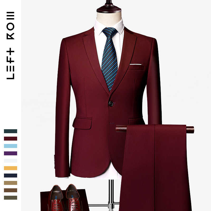 LeftROM 2019 春の新メンズファッションスリムフィットストレッチ完成底スーツブレザー新郎花婿の付添人スーツ 2 個 (ジャケット + パンツ)