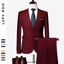 LeftROM 2019 Spring NEW Mens Fashion Slim Fit Stretch Finished Bottom Suits Blazer Groom Groomsmen Suit 2 pcs(Jacket+Pants)(China)