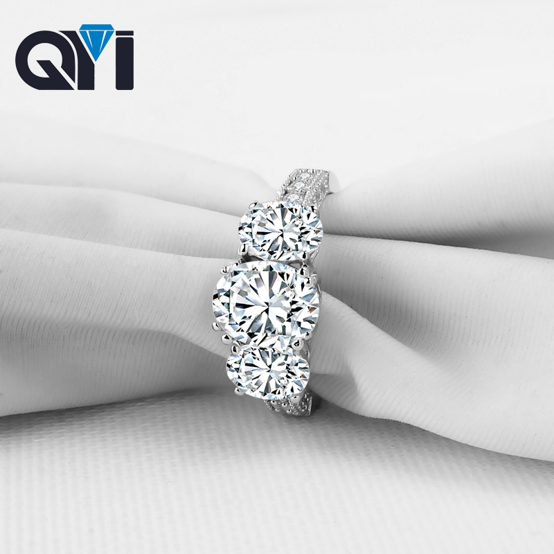 QYI 2 ct Fashion Ring jewelry Luxury Style 925 Solid Silver Three stones Simulated Diamond Engagement Wedding Rings Women Gift