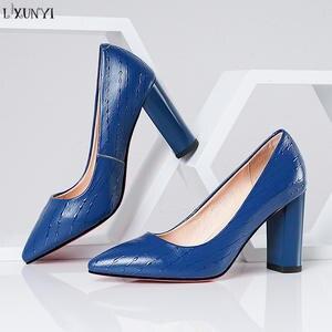 8a28f39daae LXUNYI Genuine Leather Women Pumps High Heels Dress Shoes