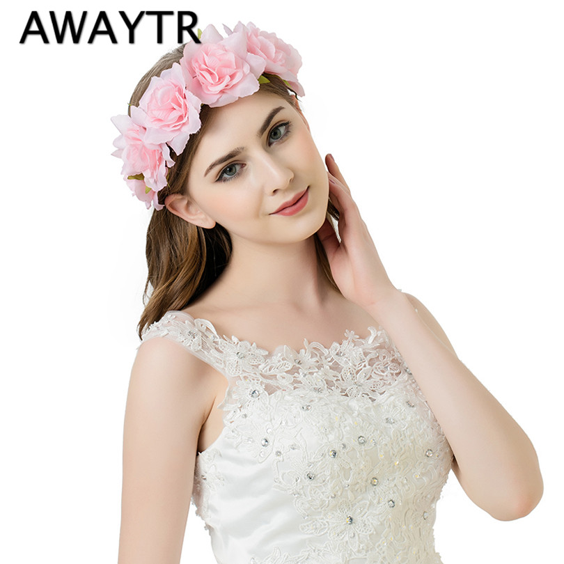 AWAYTR 2017 Handmade Rose Flower Headband Women Girls Flower Headwear Wedding Party Bride Flower Crowns Hair Accessories metting joura vintage bohemian ethnic tribal flower print stone handmade elastic headband hair band design hair accessories