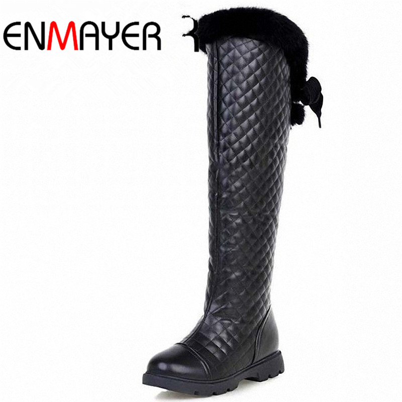 ФОТО ENMAYER White Black  Newest Knee High Boots Winter Boots Women Ladies'shoes Sexy Motorcycle Boots for Women Snow Boots Big Size