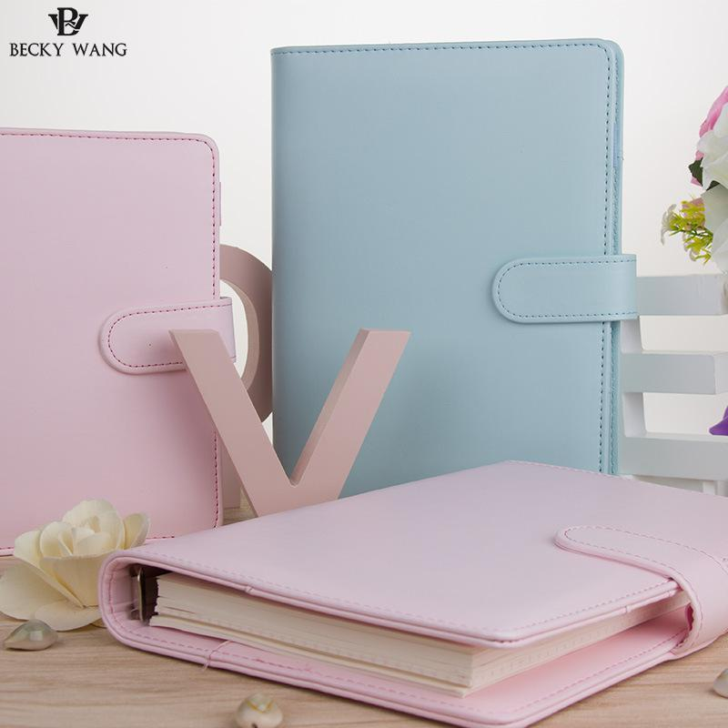 Cute Macaron Planner Binder Only A5 A6 Blue Pink Lilac Nešiojamojo - Bloknotai ir užrašų knygelės