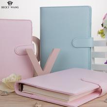 купить Cute Macaron Planner Binder Only A5 A6 Blue Pink Lilac Notebook Cover Agenda 2018 Diary Bullet Journal по цене 857.32 рублей