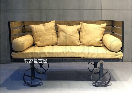 American Country To Do The Old Retro Furniture Loft Iron Wood Sofa Leisure Bed