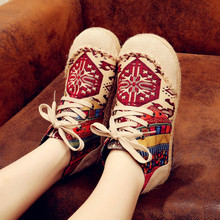 Spring 2018 new old Beijing Hemp embroidered non-slip shoes national style short boots women cotton and linen shoes Yasilaiya old beijing cloth shoes in the new baotou embroidered to raise the national wind leisure women shoes cool slippers home