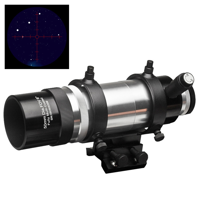 EXPLORE SCIENTIFIC 6degree FOV 8X50 ILLUMINATED Erect Image Finder Scope WITH BRACKET