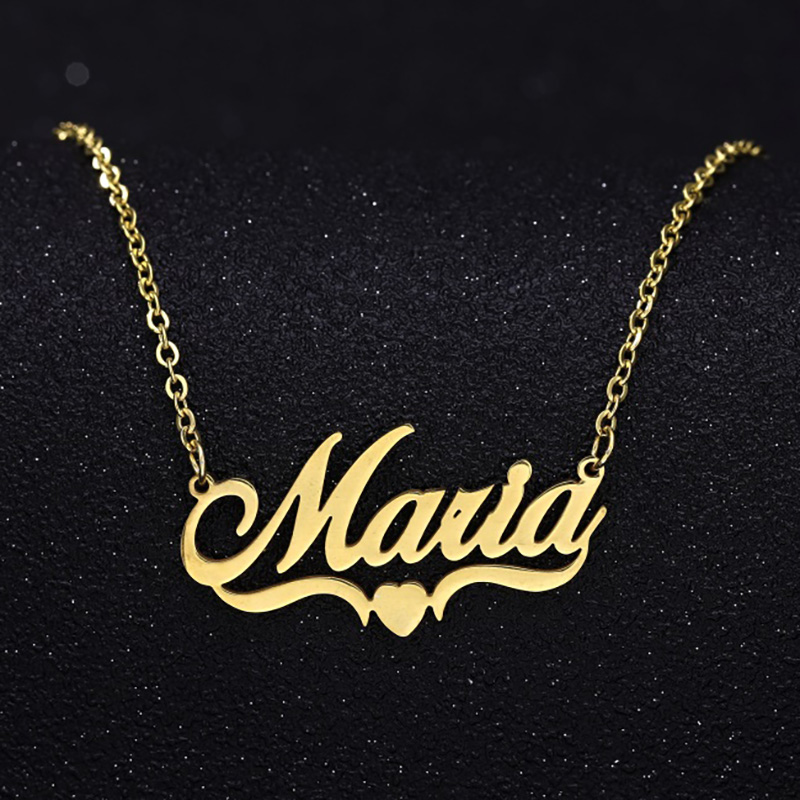 Handmade Custom Name Personalized Name Necklaces for Women Men Stainless Steel Jewelry Gold Filled Heart Statement Choker Bijoux