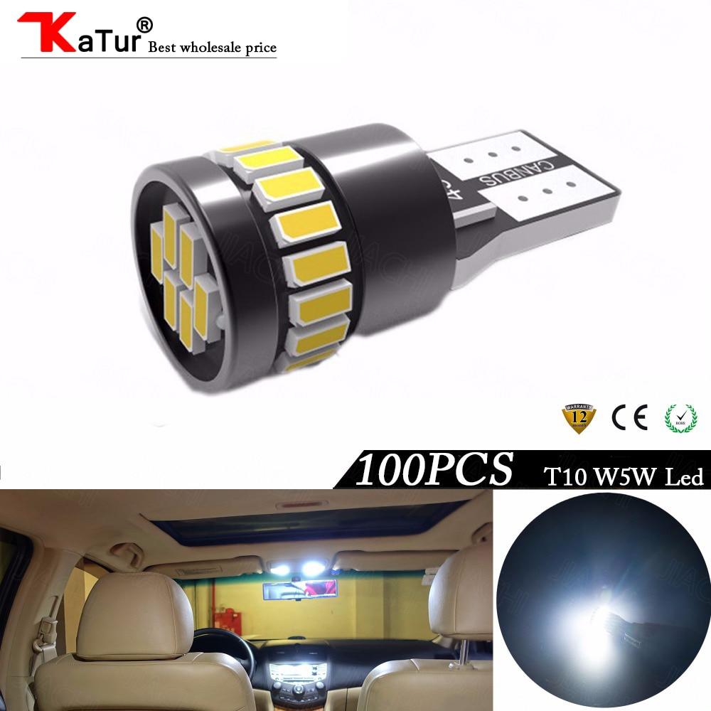Katur 100pcs T10 W5W LED CANBUS Bulbs Error Free Car Interior Dome Reading Door Courtesy Trunk