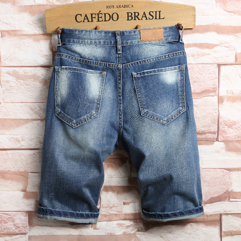 Casual Hole Jean New 2018 Summer Punk Ripped Jeans Short Men Blue Knee Length
