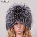 Sombreros de Piel De invierno para Niñas Genuina piel de Zorro Casquillo Hecho Punto Silver Fox Fur Caps Mujer Ruso Sombreros De Piel de Invierno de Las Mujeres sombreros