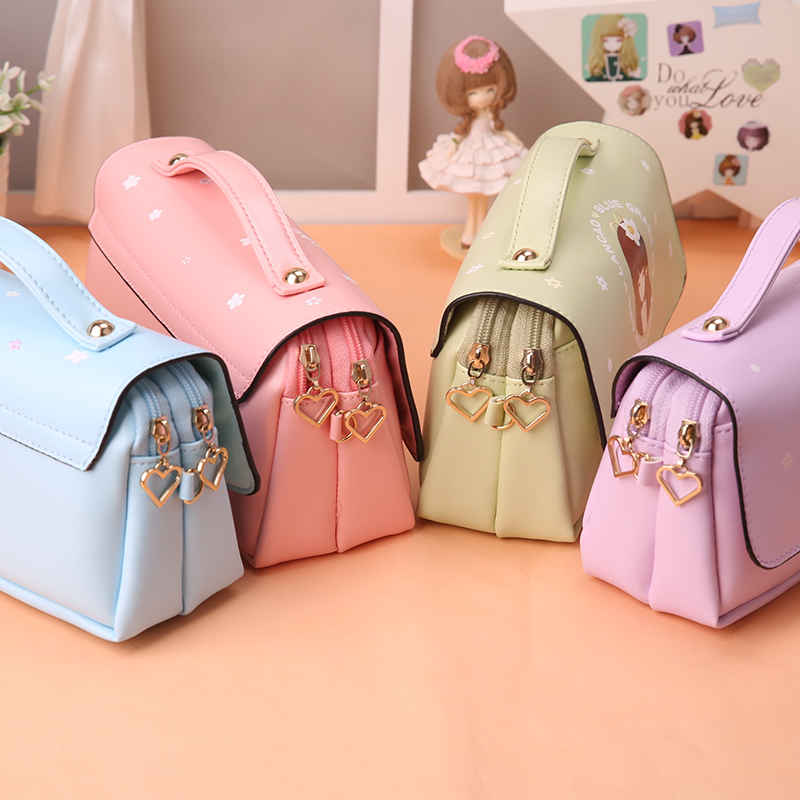 Korea cute student pencil box flower girls large capacity leather pencil bag pouch pen case school kawaii pencil cases for girls